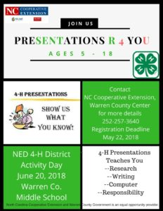 Cover photo for Presentations R 4 You Registration! NED 4-H District Activity Day!