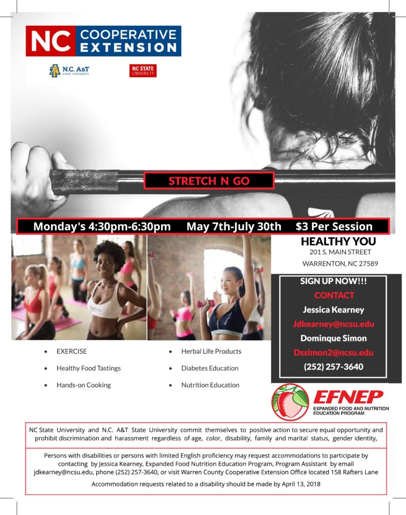 NC Cooperative Extension exercise and nutrition education class flyer image