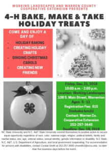 Cover photo for 4-H Bake, Make, & Take Holiday Treats