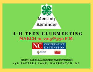 Cover photo for 4-H Teen Club Meeting