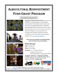 Cover photo for Ag Reinvestment Fund Grant Interest Meeting October 16 CANCELLED