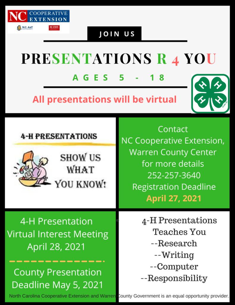 4-H Presentations flyer image