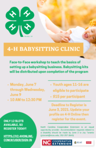 Cover photo for 4-H Babysitting Clinic